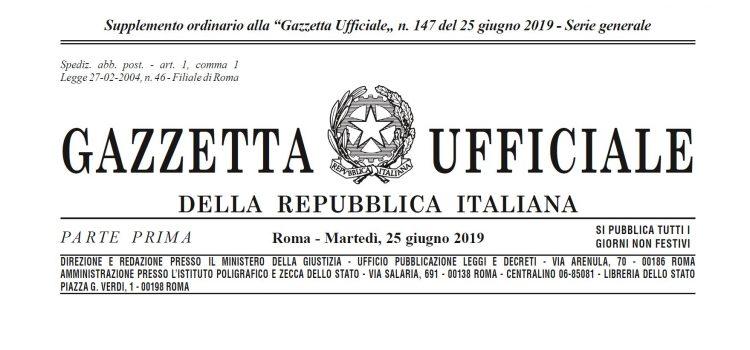 """Pubblicata in Gazzetta Ufficiale la  Legge 55/2019 di conversione del DL """"Sblocca cantieri"""""""